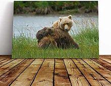 Big Box Art Canvas Print Wall Art Brown Bear with