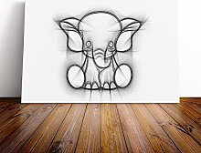 Big Box Art Canvas Print Wall Childrens Elephant