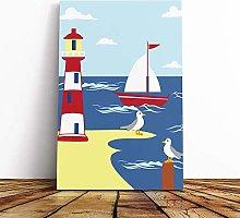 Big Box Art Canvas Print Wall Childrens Lighthouse