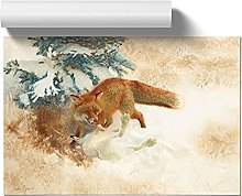 Big Box Art Fox with White Hare by Bruno Liljefors