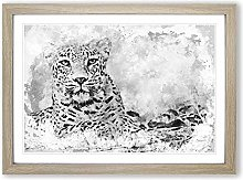 Big Box Art Leopard Resting in Abstract Framed
