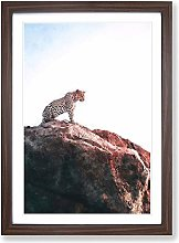 Big Box Art Leopard Upon The Rock Painting Framed