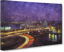 Big Box Art Massachusetts Boston Skyline Painting