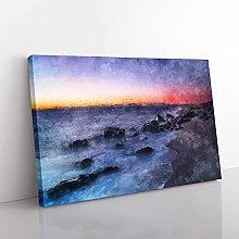 Big Box Art Ocean Reaching The Beach at Sunset