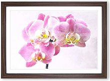 Big Box Art Pink Orchid Flower Painting Framed