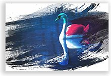 Big Box Art Poster Print Wall Art White Swan on a