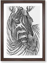 Big Box Art Sketch of a Zebra in Abstract Framed