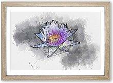 Big Box Art Violet Water Lily Sketch Framed Wall