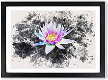 Big Box Art Violet Water Lily Watercolour Framed