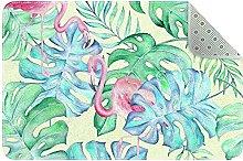 Big leaf flamingo watercolor tropical Rugs Ultra