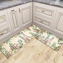 BIGABIGA 2 Piece Non-Slip Kitchen Rug Mat Set Soft