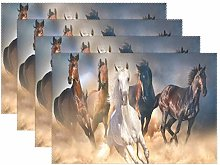 BIGJOKE Place Mats Sets of 4, Animal Horse Pattern