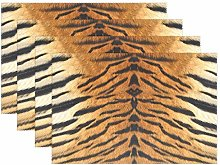 BIGJOKE Place Mats Sets of 4, Animal Tiger Leopard