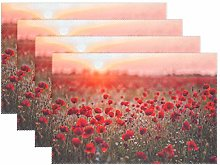 BIGJOKE Place Mats Sets of 4, Flower Poppy Pattern