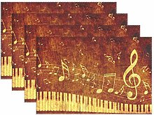 BIGJOKE Place Mats Sets of 4, Music Note Piano