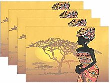 BIGJOKE Place Mats Sets of 4, Tribal African Woman