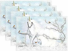 BIGJOKE Place Mats Sets of 4, Winter Animal