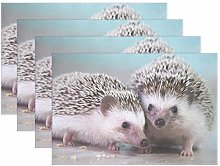 BIGJOKE Place Mats Sets of 6, Animal Hedgehog Cute