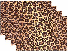 BIGJOKE Place Mats Sets of 6, Animal Leopard Print