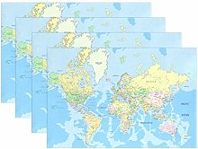 BIGJOKE Place Mats Sets of 6, Education World Map