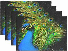 BIGJOKE Place Mats Sets of 6, Peacock Art Animal