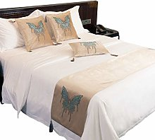 Bigood Premium Quality Butterfly Bed Runner