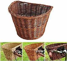 Bike Front Basket Natural Wicker Hand-Woven