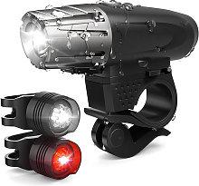 Bike Lights Set USB Rechargeable Bicycle Headlight