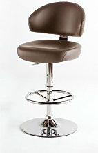 Bingo Brown Bar Stool In Faux Leather With Chrome
