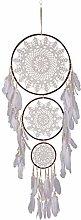 Bingxue 3 Rings Dream Catcher Handmade Feather