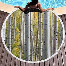 Birch Tree Forest With Yellow Leaves Printed Round