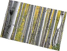 Birch Tree Forest with Yellow Leaves Printing