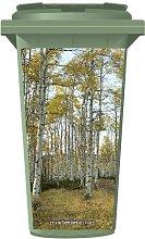 Birch Trees in A Forest Wheelie Bin Sticker Panel