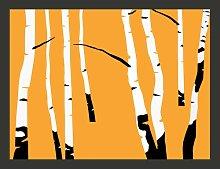 Birches on Orange Background 1.54m x 200cm