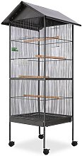 Bird Cage with Roof Black 66x66x155 cm Steel -