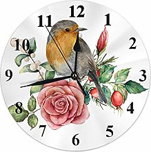 Bird Clock Robin Birds with Rose Flower Snow