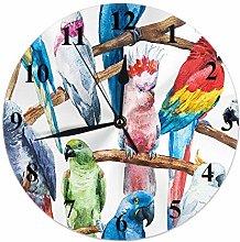 Bird Clock Watercolor Animals Colorful Parrot Bird