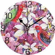 Bird with Flower Round Wall Clock, Silent