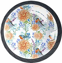Birds and Flowers Round Knob Metal Cabinet