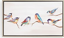 Birds Chatting - Hand-Painted Framed Canvas Print,