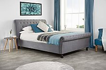 Birlea, 135cm Opulence Fabric Bed, Grey Velve