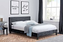 Birlea Berlin Bed, Crushed Velvet, Black, Double