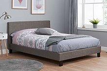 Birlea Berlin Bed, Fabric, Grey, Small Double
