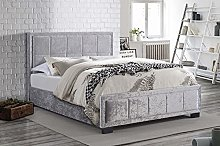 Birlea Hannover Bed - Crushed Velvet - Steel,
