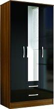 Birlea Lynx 3-Door 2-Drawer Wardrobe With Mirror -