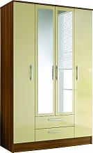 Birlea Lynx 4-Door 2 Drawer Wardrobe with Mirror -