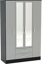 Birlea Lynx 4-Door 2-Drawer Wardrobe With Mirror -
