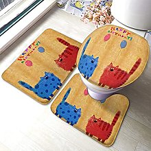 Birthday Bathmat,Two Funny Cats Holding Colorful