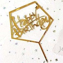 Birthday Flag Cake Topper Acrylic Letter Gold