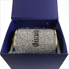 Biscuit Canister Jar Tin Silver Diamond Crushed